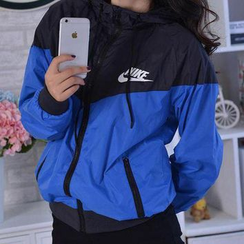 NIKE Jacket Hoodie Windbreaker Coat Blue+Black