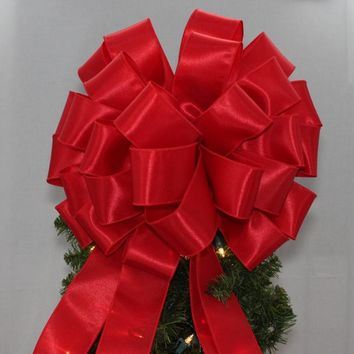 Red Satin Christmas Tree Topper Bow