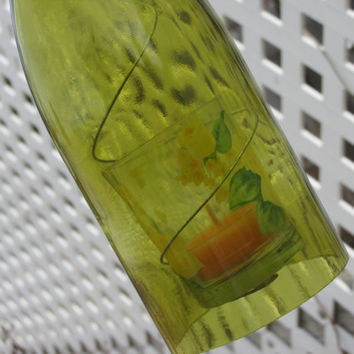 Upcycled wine bottle hurricane candle holder, green, OUTDOOR LIGHTING, Recycled Wine Art, Hanging hurricane lamp