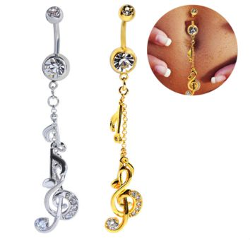 Fashion  note shaped zircon belly button ring antiallergic Navel Belly Ring-0428-Gifts box