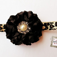 Baby Girl Heaband black satin  flower  leopard  elastic headband.