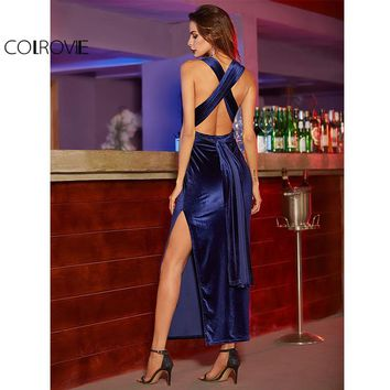 Women Sexy Dresses Party Night Club Dress Elegant Dress Sexy Blue High Slit Velvet Convertible Backless Dress
