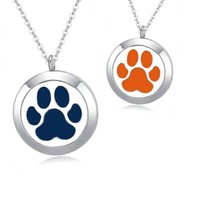 Paw Print Essential Oil Diffuser Necklace (perfect for Auburn Tigers fans)