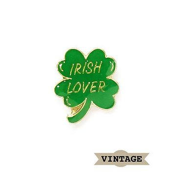 Irish Lover Four Leaf Clover Vintage Pin