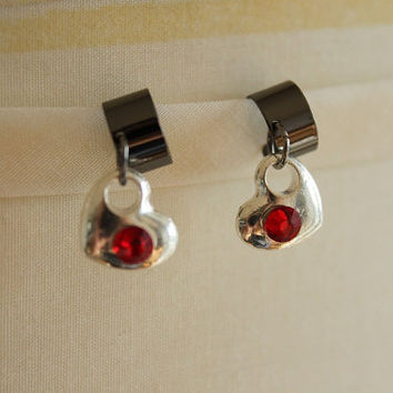 Valentine's Heart Ear Cuffs - BFF Ear cuffs - Silver Hearts and Glass Rhinstones - NO PIERCING Needed :)