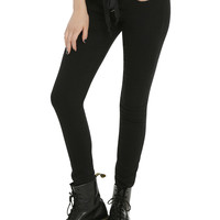 Judy Blue Black Lace-Up Front Skinny Jeans