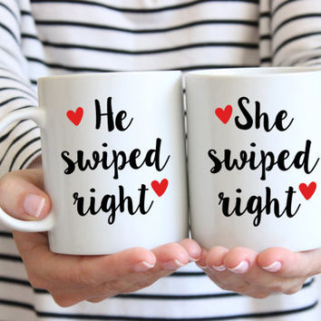 I Swiped Right Coffee Mug Set | Valentine's Day | Tinder Inspired Gift | Boyfriend Gift | Girlfriend Gift | Engagement Gift Set