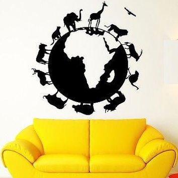 Vinyl Decal Wall Sticker Globe Earth Geography Africa Animal Planet Nature School Home Decor Unique Gift (ig2233)