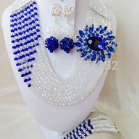 Clear AB Royal Blue Women Stylish Crystal Bead Jewelry Accessories Nigerian wedding african beads jewelry set ABD011