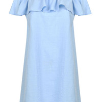 Blue Off Shoulder Ruffle Overlay Shift Dress