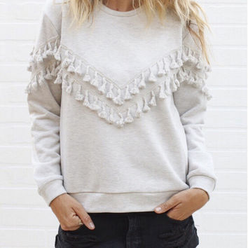 Solid Color Double Tassel Long Sleeve Sweater Jacket