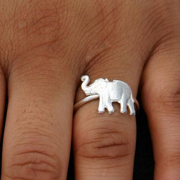 Birthday Gift Sterling Silver Ring Elephant by ULoveJewelry