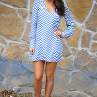 Just In Time Chevron Dress: Cornflower Blue | Hope's