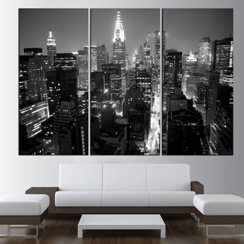 New York City Manhattan Skyline wall art canvas print, black and white Manhattan skyline canvas print, new york wall art print t468