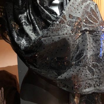 Vitage Styled Sheer black flower Sequined embroidered wrap Shawl