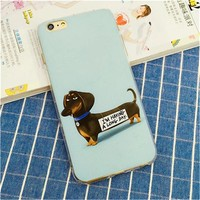 Meachy Dachshund Dog Animals Soft Silicone Mobile Phone Case For iPhone 6 6S Plus 7 7 Plus Cartoon Back Cover Shell   F45