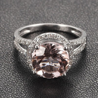 CLAW PRONG 14K Gold 8mm Round Morganite .35ct Pave Diamond Engagement Ring Wedding Ring Split Shank