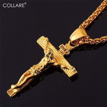 Collare INRI Crucifix Cross Necklace Gold/Rose Gold/Black Gun Color Stainless Steel Chain For Men Jewelry Jesus Piece P166