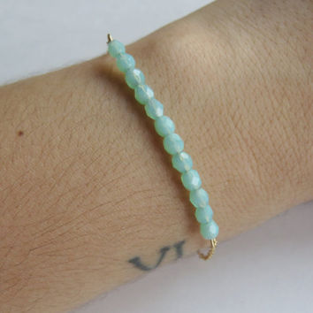 Seafoam & Gold Bracelet- Seafoam glass beads on a gold plated chain, Seafoam Bracelet