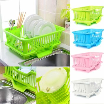 4-Colors Kitchen Dish Rack Bowl/Cup/Spoon/Fork Drainer Drying Rack Washing Holder Sorting Basket