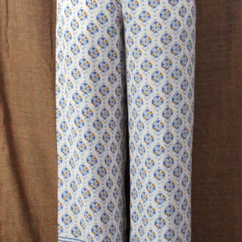 Cute BCBG Maxazria L size Pants New Long Lightweight Off White Blue JOAN Wide Leg 198.00
