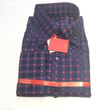 "Leonardi 'Checkered polka dot"" Button Up Shirt"