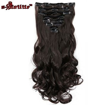 SNOILITE 8pcs/set 24inch 180g Curly 18 Clips in Hair Styling Synthetic Hair Extensions Hairpiece Natural Dark Brown