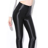 Black High Waist Stretch Skinny Shiny Spandex Footless Leggings Disco Dance Hot Pants