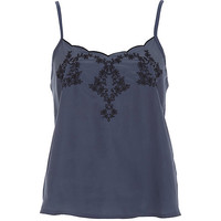 River Island Womens Blue embroidered cami top