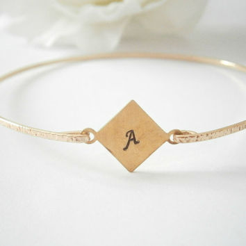 Initial Bangle Bracelet- Monogram Bangles - Gold Plated Jewelry - Personalized Jewelry - Bridesmaid Gift - Custom Jewellery - Hand Stamped