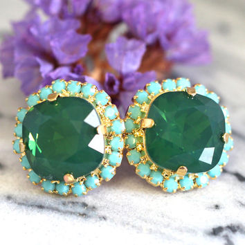 Emerald Earrings,Emerald Swarovski Stud Earrings,Jade Green Stud Earrings,Bridesmaids Earrings,Gift For Her,Valentines Gift