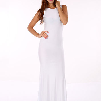 White Sleeveless Deep V-Cut Back Maxi Dress
