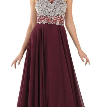 Halter Sheer Beaded Bodice Keyhole Neckline Long Prom Dress Plum