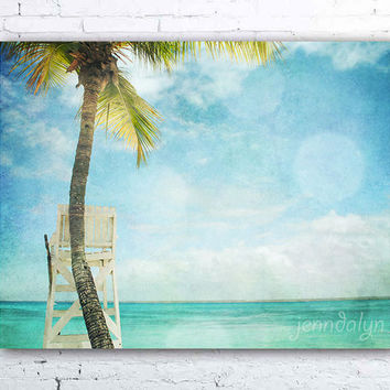 Tranquility - fine art photograph, blue tropical beach decor, beachy wall art, caribbean sea, lifeguard chair photo, beach house decor