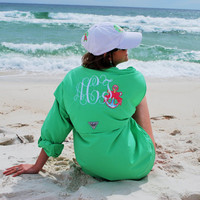 Monogram fishing  shirt with Lilly Pulitzer Accent
