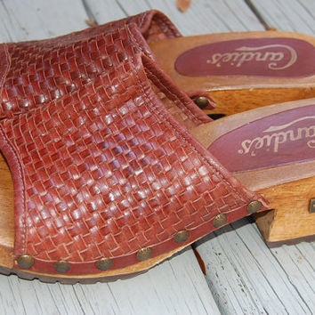 Vintage 80s 90s Woven Leather Candies Clogs Shoes Mules  Dr. Scholls Style Slip Ons Size 8.5 US Womens