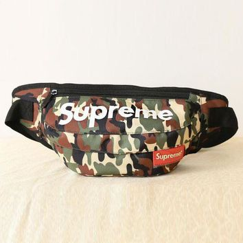 Supreme Fashion Army Camouflage Print Canvas Chest Package Outdoor Sports Bag Inclined Shoulder Bag Backpack