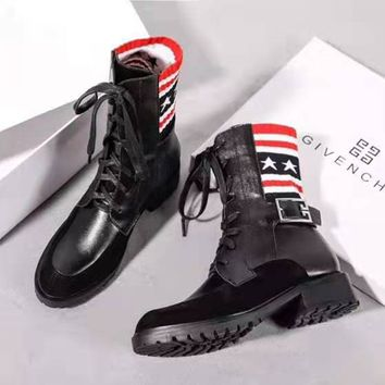 Free Shipping-Givenchy 2019 new tube in the wild buckle boots