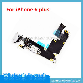5pcs/lot OEM New Charger Charging Port Dock Mic Headphone Jack Flex Cable For iPhone 6plus 5.5'' White / Gray