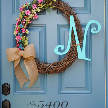Front door wreath, burlap bow, grapevine wreath, large initial, colorful spring flowers