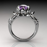 Nature Inspired 950 Platinum 2.0 Carat Oval Amethyst Diamond Lotus Flower Engagement Ring R1013-PLATDAM