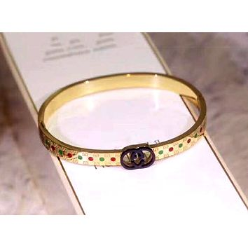 GUCCI Tide brand new men and women models diamond diamond bracelet gold