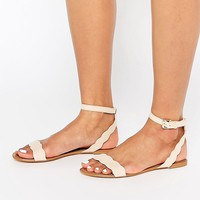Faith Jem Nude Suede Scalloped Edge Flat Simple Sandals