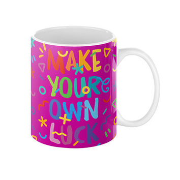 MAKE YOUR OWN LUCK Ceramic Coffee Mugs (Multicolor on Dark Magenta background)