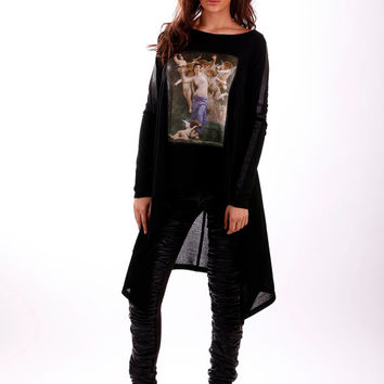 Black tunic / Tunic with print / black sweater / Cotton top / Blouse / Extravagant top / Asymmetrical tunic