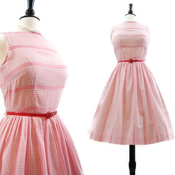 50s Dress Vintage Pink Gingham Stripe Full Skirt Picnic Spring Summer Day Dress M L