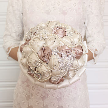 Beads and Crystal Ivory and Mauve Satin Flowers Bridal Bouquet