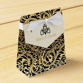 Art Deco frame and chandelier black, gold wedding favor box