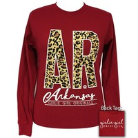 Girlie Girl Preppy Leopard Arkansas Long Sleeve T-Shirt