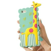 S9Q 3D Cartoon Cute Animal Giraffe Silicone Soft Case Cover Back Skin Protector For Apple iPhone 4 4S Blue
